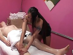 Gentle cook jerking and oral-job performed during massage
