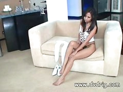 Incredible Asian Lady Nyomi Marcela Tries Out A New Pair Of Warm Stockings And Gets So Excited She Starts Rubbing Her Clit In Delight