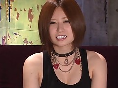 Soaked carpet munch for sexy Asian darling in stockings