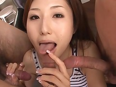 Hot Oriental mamma in heels acquires bare and screwed on sofa