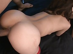 Constricted cookie slut rams a chunky marital-device in her obscene cleft making it wet