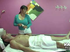 A Happy Tug meat massage by a very breasty Asian babe