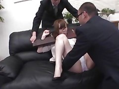 Now here's a concept that works! A horny asian milf secured with a bondage device seems not agree what's going to happen with her big booty. But after the guy cuts her panties with scissors and inserts his finger in her tight shaved anus she suddenly starts moaning and enjoys the treatment.