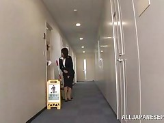 Japanese cunt wants to piss, but doesn`t know where. She asks a worker, but he doesn`t help her and she pisses outside the building. He follows her and watches her. Then, he becomes so horny and starts to play with her wet pussy, recording it at the same time. They go to hide from others when she sucks his cock.