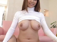 Concupiscent Oriental with large perky scones thrills with juicy oral-job job