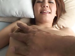 Nice-looking Oriental mother i'd like to fuck sucks on hard schlong and her curly cunt fingered