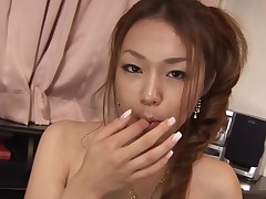Breasty Oriental gal with hairy muff feels dick and wet crack in hole