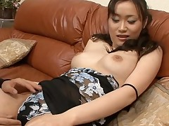 Stud fingers nasty Oriental chick in stockings zealously